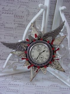 Time Flies - Altered Art, Steampunk Style Assemblage Christmas Ornament