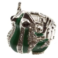'Clear rhinestone covered Frog Ring Green Fashion NEW' is going up for auction at  9am Mon, Jun 18 with a starting bid of $3.