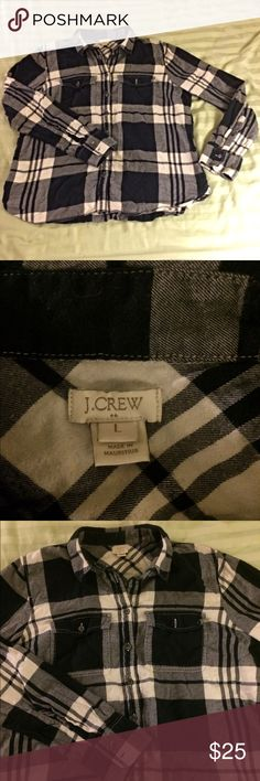 J. Crew flannel gray and white shirt Soft flannel shirt by j crew. Comes with extra buttons. 100% cotton J. Crew Tops Button Down Shirts