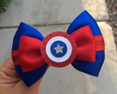 Captain America Inspired Hair Bow by AFairyTaleBowtique on Etsy