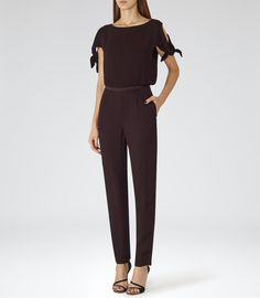 Womens Deep Bordeaux Tie-sleeve Jumpsuit - Reiss Turner