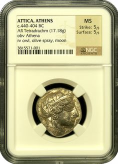 Attica Athens Owl Silver Tetradrachm, NGC, Mint State, Strike 5/5, Surface 5/5 - The Athenian Owl is one of the most famous of all Ancient coins and is listed as # 10 in the 100 Greatest Ancient coins book. The quality and overall look of this example is superb given that it was struck nearly 2,500 years ago. The obverse features Athena, the goddess of Wisdom and the reverse shows the famed owl with an olive branch. Find more coins like this at www.ancientgoldcoins.com