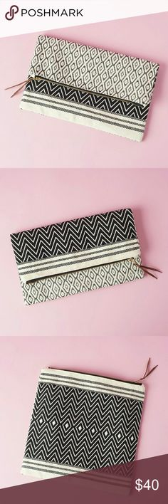 """Tribe Alive - Foldover Clutch - Atitlan Brocade TribeAlive?Foldover Clutch ? Atitl?n Brocade  -brand new in packaging -100% handwoven cotton -Reversible - different Pattern on each side (see 3rd and 4th  photos) -interior lining -11.5 width and 11.5"""" height -Retails for $98 Tribe Alive Bags"""