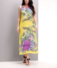 Love this Yellow Floral Scoop Neck Maxi Dress - Plus by Reborn Collection on #zulily! #zulilyfinds