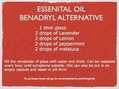 Essential Oil Benadryl Alternative www.mydoterra.com/kimparish