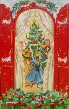 Decorating the Christmas Tree. Vintage Christmas Card. Retro Christmas Card. 1950's Christmas Card.