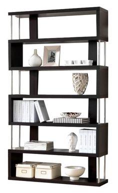 Moderný viacúčelový regál má zaujímavý dizajn a ponúka množstvo odkladacieho priestoru. Korpus je hrubý 36 mm a je v čiernom farebnom prevedení. Elegantne h | NovýNábytok.sk, najväčší eshop s nábytkom v SR Modern Bookcase, Modern Shelving, Ladder Bookcase, Baxton Studio, Home Office Furniture, Display Shelves, Dark Brown, Retail, Cabinet
