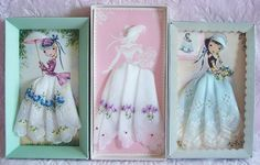 Vintage handkerchief dress paper dolls:   So cute for a little girl (Emma).  Love vintage linens.