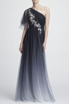 MARCHESA NOTTE on Sale: Black One Shoulder Embroidered Ombre Tulle Gown Buy from Best selection of authentic designer dresses online. Elegant Dresses For Women, Fabulous Dresses, Beautiful Dresses, Flowy Gown, Tulle Gown, Formal Evening Dresses, Evening Gowns, High Low Gown, One Shoulder Gown