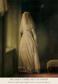 "Stephen Mackey ""We Only Come Out at Night"" oil on panel // painting art ghost bride creepy dark Stephen Mackey, Tableaux Vivants, Mode Poster, Renaissance Kunst, Illustration Art, Illustrations, Arte Obscura, Classical Art, Pop Surrealism"