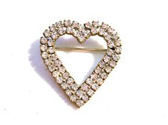 Vintage 1950's Rhinestone Heart Brooch Pin Double by VisionsOfOlde, $14.99