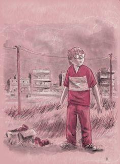 """Poldo. una delle prime immagini di Poldo protagonista del romanzo """"Arrviano gli gnummo boys"""". Matita, acquerello su carta, fx. 2007"""