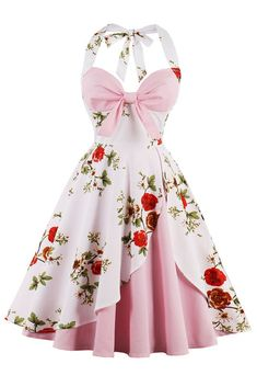 Pink and White Vintage Floral Dress