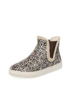 Mou Black/White Cow Hair Hi-top Chelsea Sneaker
