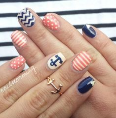 Adorable anchor red white and blue nails