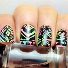 Nails, colors, Aztec print