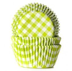 Caissettes pour cupcakes carreaux vichy vert anis & blanc