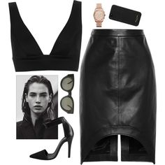 Outfit Ideas - 711 Outfit Idea with TopShop Deep V Bralet, Black Leather Pencil Skirt and Pieces Leather Pumps