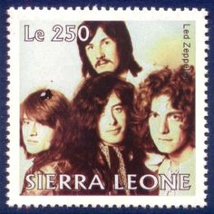 Rock stars on postage stamps - Led Zeppelin on Sierra Leone stamp