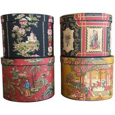 Oriental-Style Hat Boxes - Set of 4 (2.855 HRK) ❤ liked on Polyvore featuring home, home decor, small item storage, paper box and stacking boxes