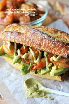 SPICY ROASTED SHRIMP SANDWICH WITH CHIPOTLE AVOCADO MAYONNAISE - Joybx