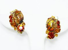 New Listings Daily - Follow Us for UpDates -  Description & Style:  Juliana Art Glass Earrings - Foil Glass (easter egg ) and Gold Tone Rhinestones - Clip on Earrings - Confirmed Delizza & Elster - #Vintage 1950s 1960's... #vintage #jewelry #teamlove #etsyretwt #thejewelseeker ➡️ http://etsy.me/2gw66Xo