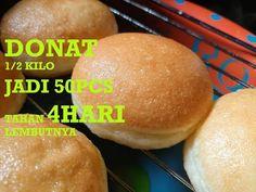 RESEP DONAT 1/2 KILO JADI 50 PCS TAHAN 4 HARI LEMBUTNYA - YouTube Roti Bread, Delicious Donuts, Eclairs, Doughnuts, Cake Cookies, Bread Recipes, Food And Drink, Menu, Dishes