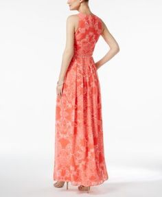 Vince Camuto Printed Maxi Dress - Red 14