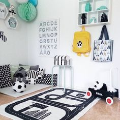 Playspace love for the lunch time hurdle. This is one of the reasons I love a monochrome base to a room...add a few pops of colour and BAM...bob's your uncle...okay so not really, but you know what I mean.  Image via @camillasavenskog #playroom #playspace #inspiration #kidsroom #roominspo #kidsplay #kidsdecor #kidsinterior #growingfootprints