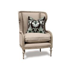 Bliss Studio Borges Wing Chair ($2,195) ❤ liked on Polyvore featuring home, furniture, chairs, accent chairs, nailhead chair, winged armchair, wingback armchair, wingback arm chair and wing back arm chair