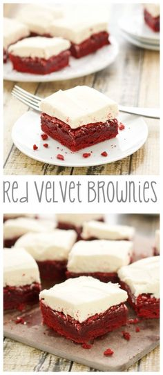 Red Velvet Brownies with White Chocolate Buttercream Frosting...perfect for #ValentinesDay!