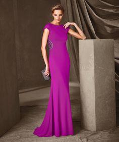 CARLOTA - Vestido comprido de malha e tule Pronovias