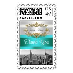 NYC Skyline BW 05 White Teal Thank You