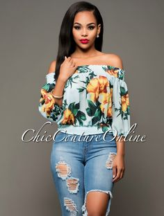 Chic Couture Online - Simile Turquoise Yellow Floral Off-The-Shoulder Top.(http://www.chiccoutureonline.com/simile-turquoise-yellow-floral-off-the-shoulder-top/)