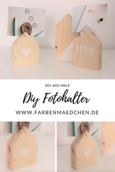 Photo holder made of wood (Diy) - DIY Ideen, Anleitungen und Inspiration - Holz Wood Crafts, Diy And Crafts, Paper Crafts, Diy Wall Decor, Diy Home Decor, Bois Diy, Photo Holders, Wooden Diy, Diy Projects