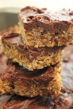 "Special K Bars. My Grandma's recipe: PB, Sugar, Corn Syrup, Special K, & Chocolate. A ""Light"" dessert from Grandma."