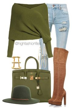 A fashion look from November 2016 featuring Off-White jeans, Casadei boots and Hermès handbags. Browse and shop related looks. Mode Outfits, Fashion Outfits, Womens Fashion, Fashion Trends, Fall Winter Outfits, Autumn Winter Fashion, Cute Casual Outfits, Stylish Outfits, Look Boho