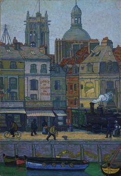 Le Quai Duquesne, Dieppe by Charles Ginner (British 1878-1952)