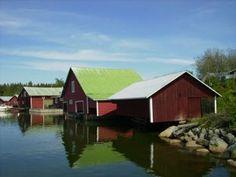 Boathouses in Skärså, Sweden