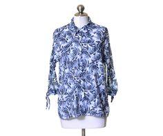JM Collection White & Blue Floral Texture Striped Cotton Button Shirt Size 16W #JMCollection #ButtonDownShirt #Casual