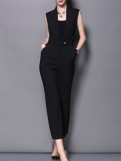 Pleated Sleevless Jumpsuit with Belt