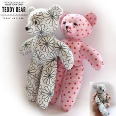 Teddy Bear Sewing PATTERN - Easy Craft Template - Make your own toy teddies