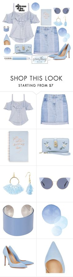 """""""Something Blue"""" by numeangeleyes on Polyvore featuring Veronica Beard, AG Adriano Goldschmied, Fringe, Taolei, Fendi, Maison Margiela, Gianvito Rossi and Marc Jacobs"""