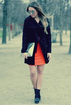 Paris Fashion Week: orange touch #outfit , Primark in Dresses, romwe in Coats, Zara in Clutches, Rebeca Sanver by On2heels in Ankle Boots / Booties