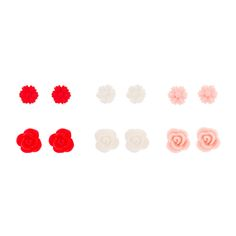 """<P>Add floral fun to your ears with this set of studs. Includes daisies and carved roses in red, white and pink.</P><UL><LI>6 pack<LI>Plastic<LI>Post back<LI>D .5"""" / 1cm</LI></UL>"""