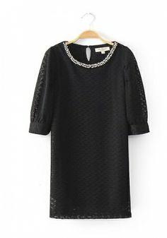 Fashoin Enchating Fashionable Dizzying Black Blending round neck Half Sleeve Plain Patchwork Fashion Dresses