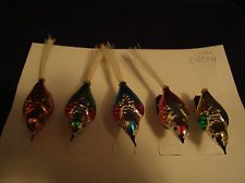 5 Vintage  Glass Birds Figural clip-on Christmas Ornaments