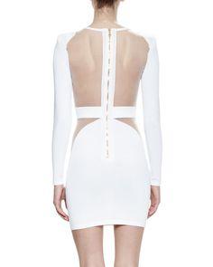 W0AG5 Balmain Long-Sleeve Sheer-Trim Dress, White
