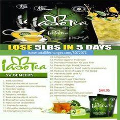 Iaso Detox Diet Tea - 4 Packs Of Tea 1 Month Supply- Lose 5lbs in 5 days #IasoTea