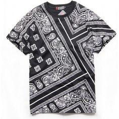 T Shirt Bandana Print Paisley Diagonales Bloods Crips Noir Blanc Rouge